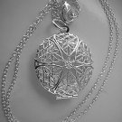 Sterling Silver Star Burst Round Locket Necklace