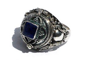Sterling Silver Bali Genuine Blue Lapis Gemstone Poison Ring