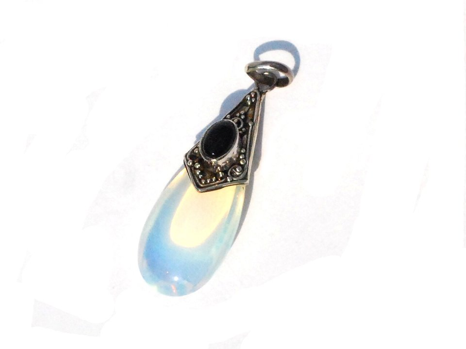 Sterling Silver Hand-Made Black Onyx and Moonstone Teardrop Pendant