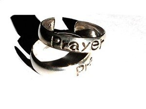 Sterling Silver Adjustable toe ring with the word PRAYER engraved