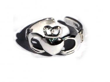 925 Sterling Silver Irish Heart Claddagh Lovers and Friendship Toe Ring