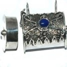 Sterling Silver Bali Cylinder Prayer Box with Genuine Blue Agate