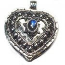 Sterling Silver Bali Heart Prayer Box Pendant with Moonstone