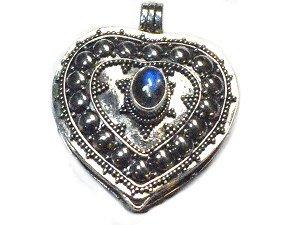 Sterling Silver Bali Heart Prayer Box Pendant with Moonstone