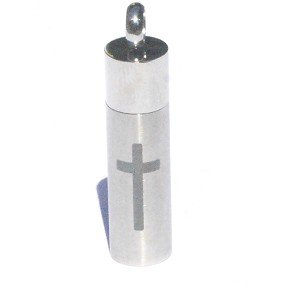 Stainless Steel Stash Pendant with Cross