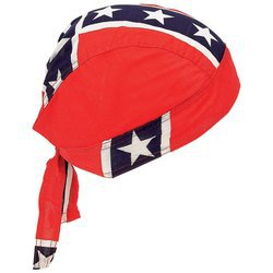 Diamond Plate Confederate Flag Skull Cap