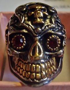 Stainless Steel Biker Skull Band Ring with Red Crystal Eyes Unisex 8, 9.5, 10.5