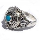 Handmade Sterling Silver Poison Band Ring with Turquoise 5,6,8,9,10,11