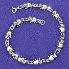 Sterling Silver 925 3-D Elephant Link Bracelet
