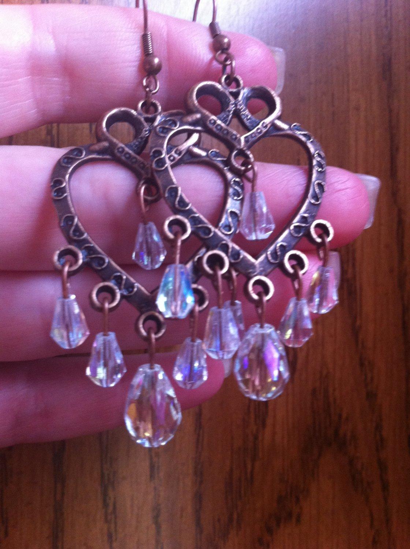 Bold & Beautiful Copper Chandelier Heart Earrings