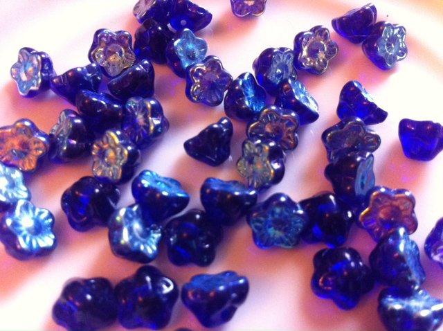 Cobalt Blue Czech Glass flower Beads