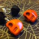 Jeepers Creepers Orange Turquoise & Jet Black Crystal Handmade Earrings