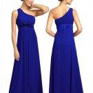 BR7111 Blue Size USA 10: One shoulder Beaded Bridesmaid Evening Dress