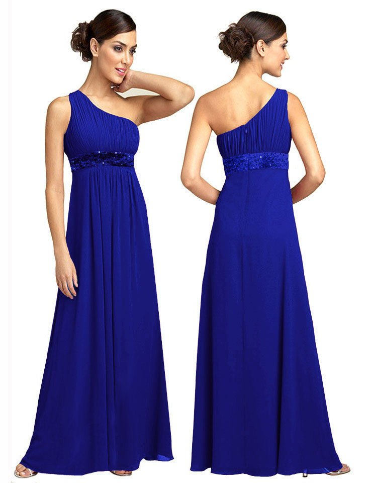 BR7111 Blue Size USA 12: One shoulder Beaded Bridesmaid Evening Dress