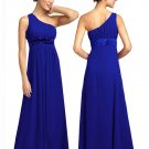 BR7111 Blue Size USA 12: One shoulder Beaded Bridesmaid Evening Dress