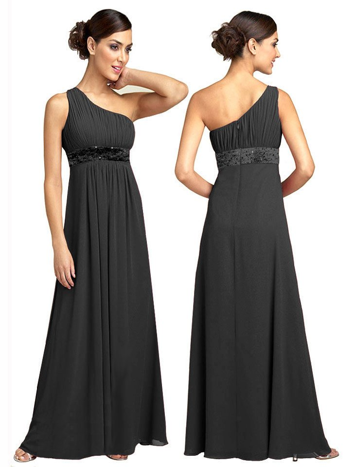 BR7111 Black Size USA 12: One shoulder Beaded Bridesmaid Evening Dress Gown
