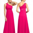 BR7111 Hot Pink Size USA 6: One shoulder Beaded Bridesmaid Evening Dress Gown