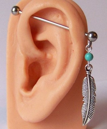 "Feather dangle 14G industrial Barbell LEFT EAR ONLY 1-1/2"" teal bead surgical steel ear piercing"