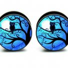 "Stainless steel plugs Night Owl gauge 1"" 25 mm PAIR (2) double flare tunnels stretchers tree"