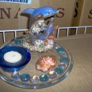 Hand Crafted Blue glass Tea-light holder and glass Dolphin Figurine
