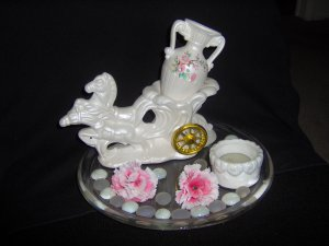 Hand Crafted White glass Tea-light holder and glass Horses pulling chariot
