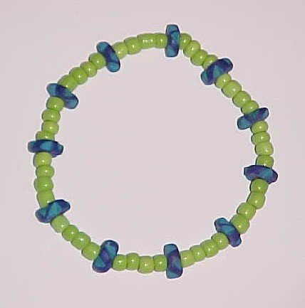 Lime Green and Blue Beaded Stretch Bracelet 7 inches