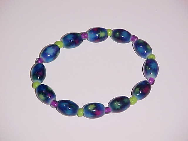 Blue, Lime Green, and Purple Magic Stars Stretch Bracelet 7 inches
