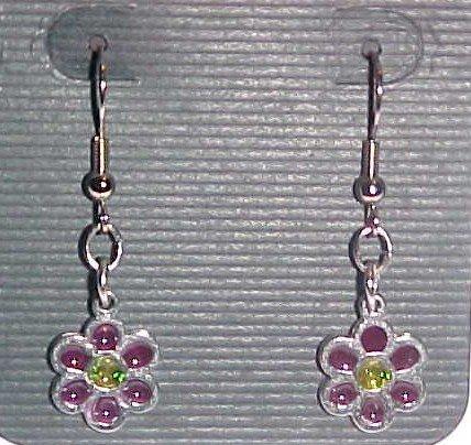Stained Glass Purple and Yellow Flower Earrings (Pierced Ears)