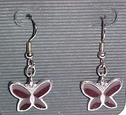 Stained Glass Purple and Silver Butterfly Earrings (Pierced Ears)