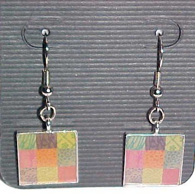 Colorful Square Patchwork Earrings  (Pierced Ears)