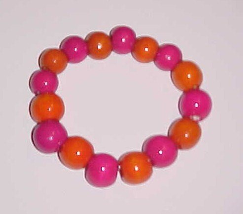 Fuchsia and Orange Wooden Stretch Bracelet 6 inches