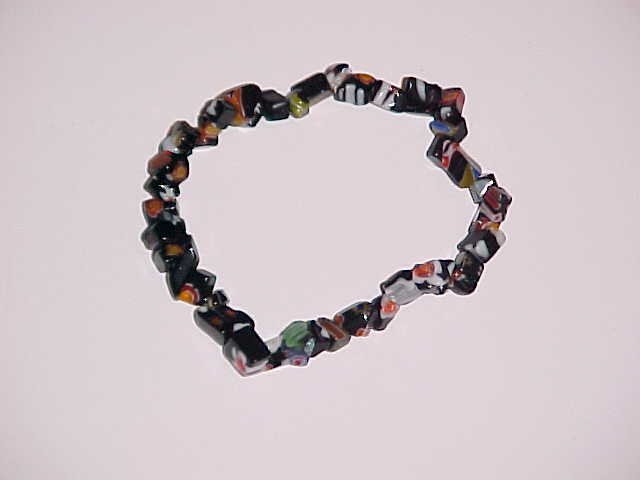 Black Millefiori Beaded Shell Stretch Bracelet 6.5-7 inches