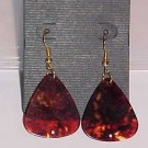 Hot Rocker Chick Guitar Pick Earrings- Crimson (Pierced Ears)