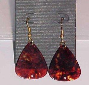Hot Rocker Chick Guitar Pick Earrings- Crimson (Pierced Ears)
