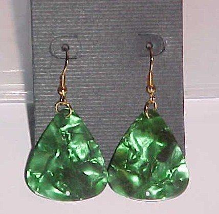 SOLD! Hot Rocker Chick Guitar Pick Earrings- Green (Pierced Ears)
