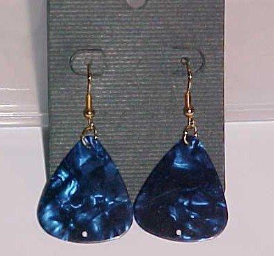 SOLD! Hot Rocker Chick Guitar Pick Earrings- Blue (Pierced Ears)