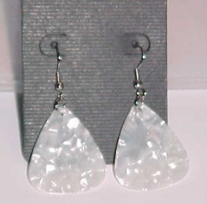 Hot Rocker Chick Guitar Pick Earrings- White (Pierced Ears)