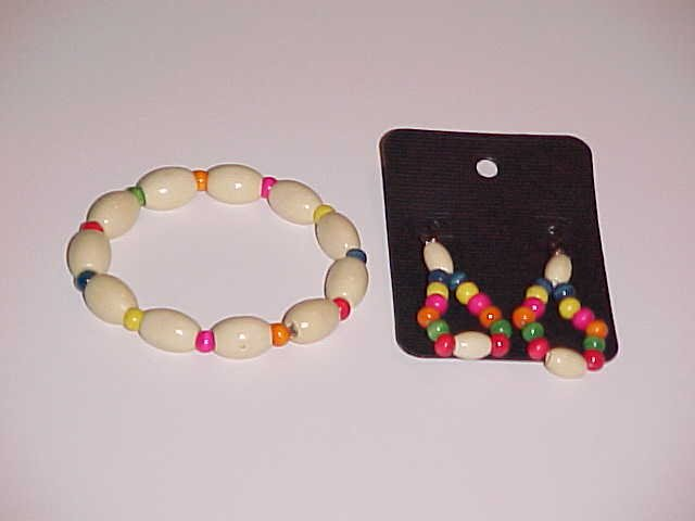 Multi-Colored Wooden Beaded Stretch Bracelet and Earring Set  (Pierced Ears)