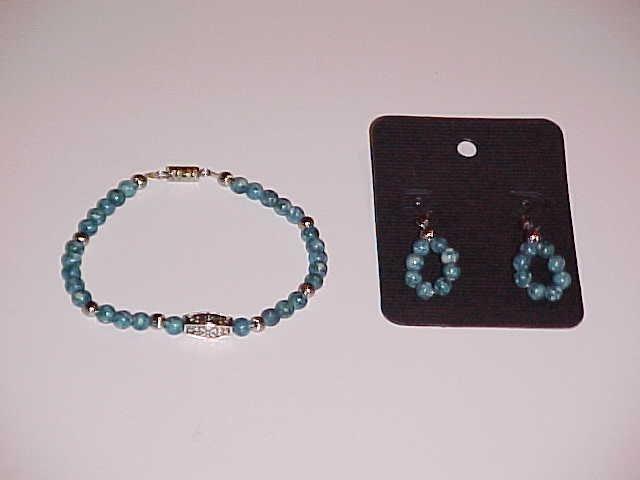 Teal and White Swirl Beaded Bracelet and Earring Set  (Pierced Ears)