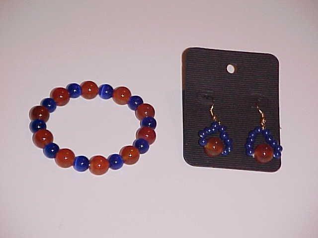 (SOLD) Carnelian and Blue Cat's Eye Glass Beaded Stretch Bracelet and Earring Set  (Pierced Ears)