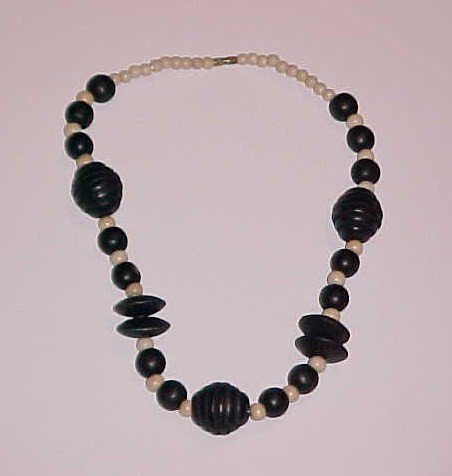 Black and Cream Beaded Wood Necklace