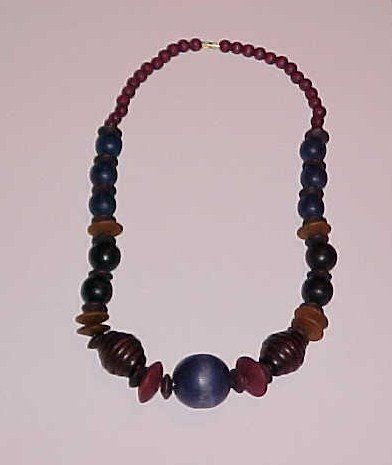 Navy Blue, Brown, Burgundy Beaded Wood Necklace