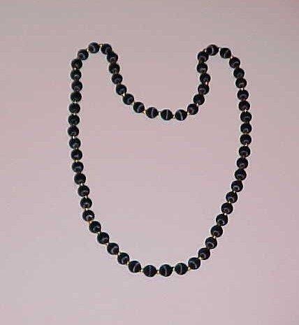 Vintage Black Satin Thread Beaded Necklace