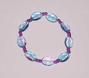 Transparent Turquoise Blue and Purple Beaded Stretch Bracelet 7 inches