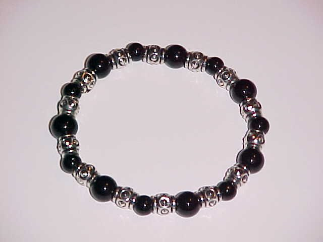Black and Silver Beaded Stretch Bracelet 7 - 7.5 inches