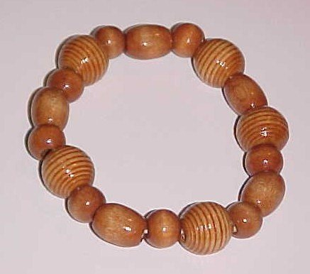 Tan Striped Beaded Wooden Stretch Bracelet 7.5 - 8 inches