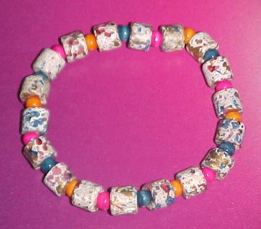 Multi-Colored Greek Ceramic and Wooden Bead Stretch Bracelet 7 inches