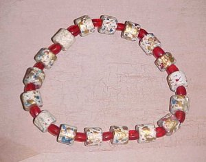 Multi-Colored Greek Ceramic and Red Glass Beads Stretch Bracelet 7.5 - 8 inches