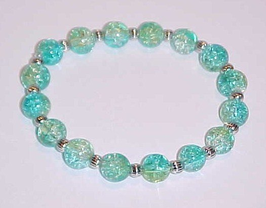 Blue-Green Crackled Glass Beaded Stretch Bracelet 7 inches