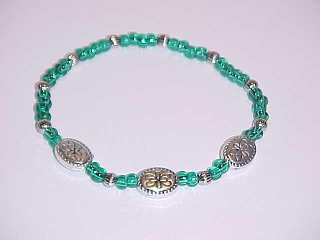 Dark Turquoise and Silver Glass Beaded Stretch Bracelet 7 inches